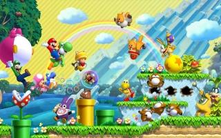 Speel als Mario, Luigi, Toad en Nabbit! Nieuw is Toadette die kan transformeren in Peachette!